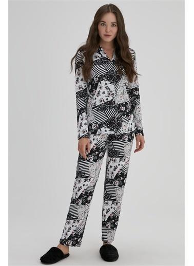 Dagi Kadin Modal Desenli Pijama Takimi Siyah